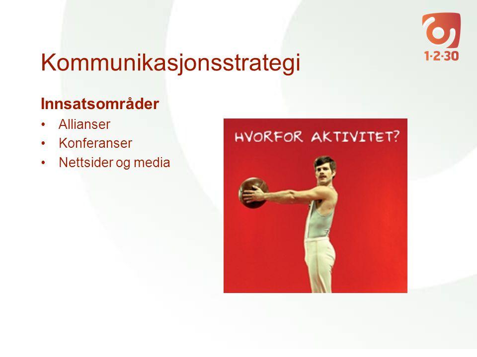 Kommunikasjonsstrategi Innsatsområder •Allianser •Konferanser •Nettsider og media