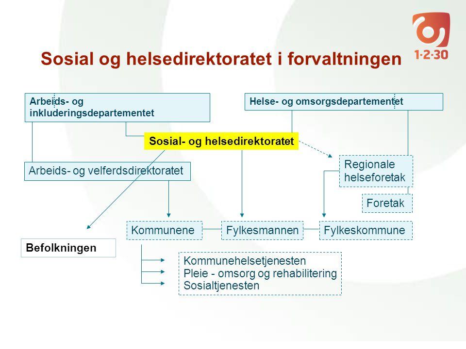 Arbeids- og inkluderingsdepartementet Arbeids- og velferdsdirektoratet Sosial- og helsedirektoratet Regionale helseforetak Foretak Helse- og omsorgsde