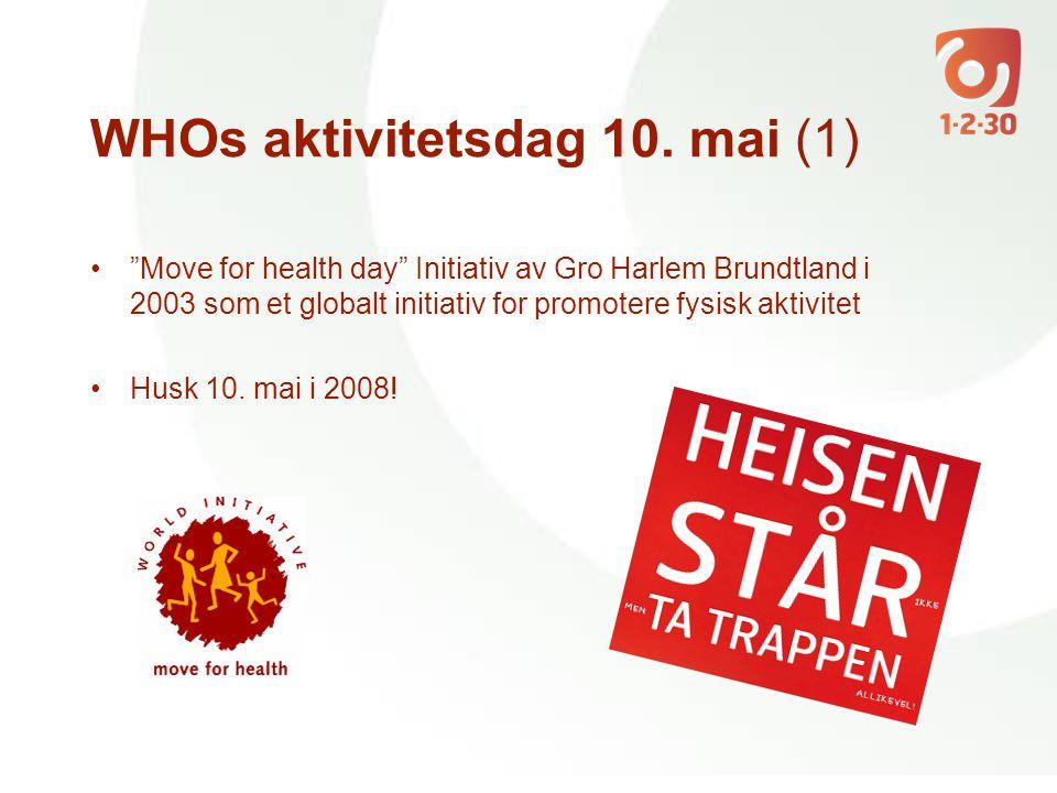 """WHOs aktivitetsdag 10. mai (1) •""""Move for health day"""" Initiativ av Gro Harlem Brundtland i 2003 som et globalt initiativ for promotere fysisk aktivite"""