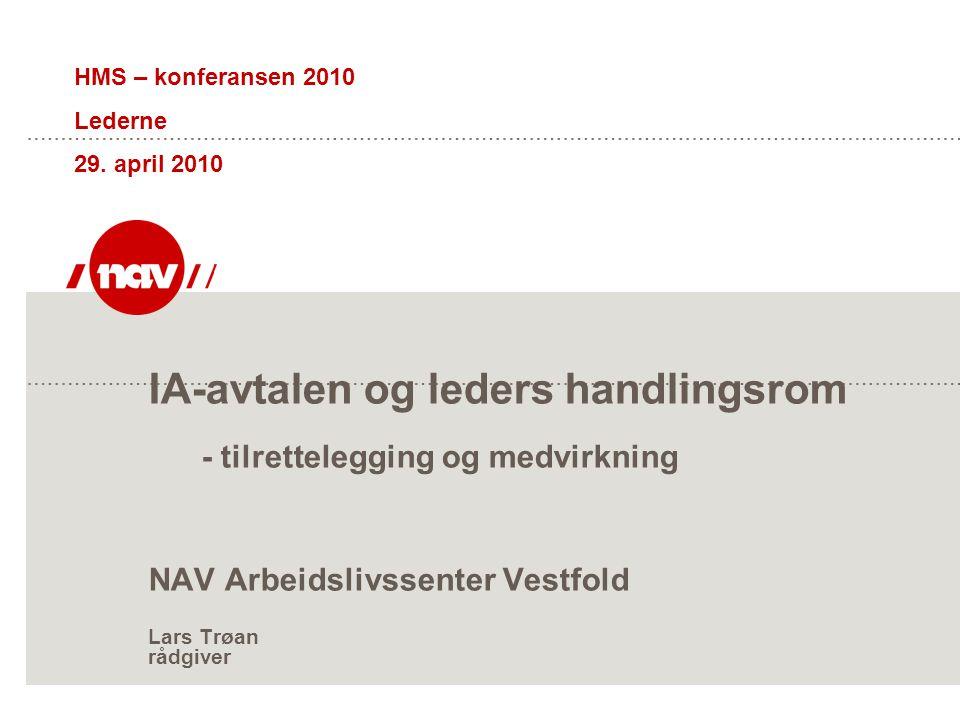 IA-avtalen og leders handlingsrom - tilrettelegging og medvirkning NAV Arbeidslivssenter Vestfold Lars Trøan rådgiver HMS – konferansen 2010 Lederne 2