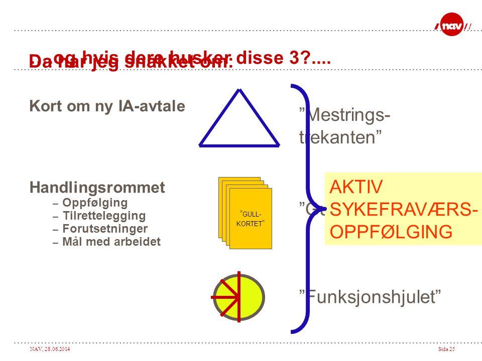 """NAV, 28.06.2014Side 25 Da har jeg snakket om: Kort om ny IA-avtale """" GULL- KORTET """" """"Funksjonshjulet"""" """"Gullkortene"""" """"Mestrings- trekanten"""" Handlingsro"""