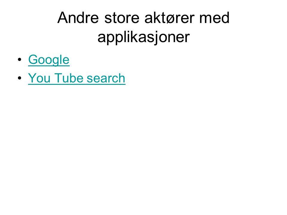 Andre store aktører med applikasjoner •GoogleGoogle •You Tube searchYou Tube search