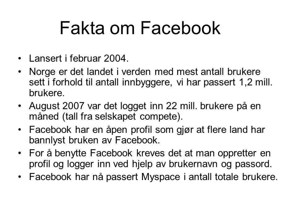 Fakta om Facebook •Lansert i februar 2004. •Norge er det landet i verden med mest antall brukere sett i forhold til antall innbyggere, vi har passert