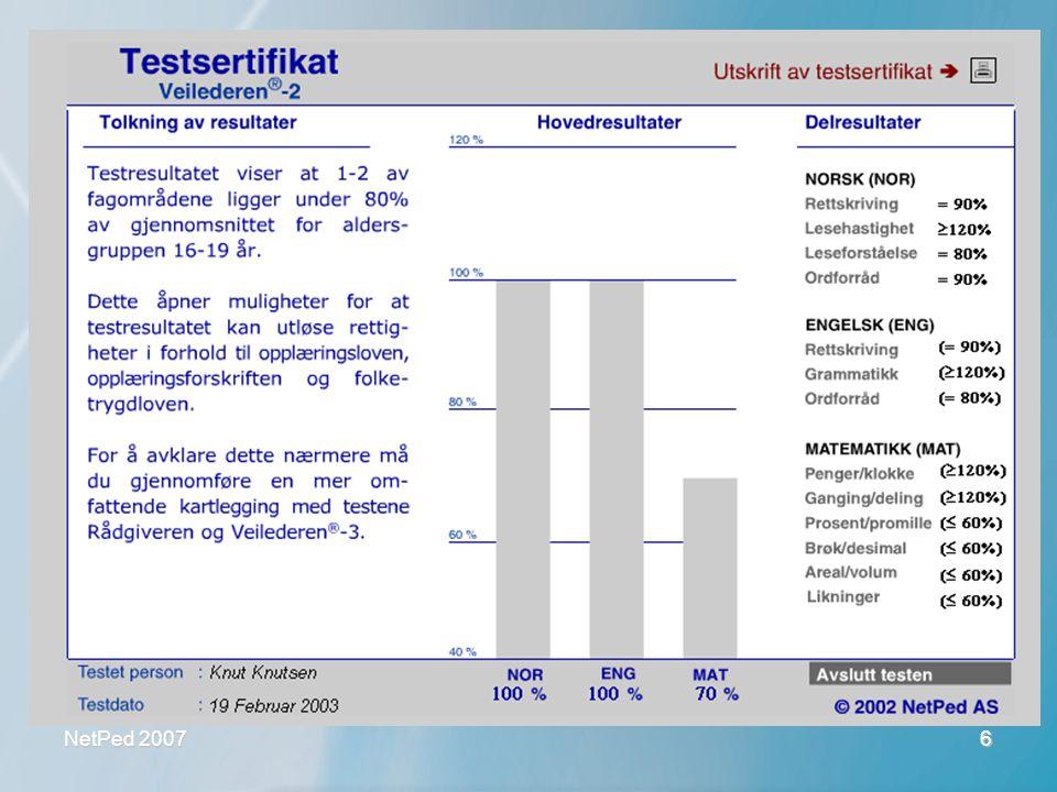 NetPed 2007 6 Veilederen 2 - testsertifikat •Enkel og lettfattelig funksjonsprofil •God dokumentasjon •Gir opplæringsplaner •Godt verktøy i dialog •Vi