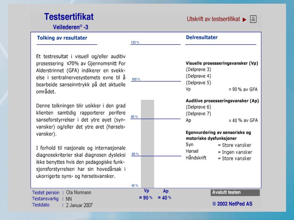 9 Veilederen-FS (fremmedspråk) •En webbasert test for personer som ikke har norsk som morsmål •Kartlegger ferdigheter i –Norsk –Matematikk –Samfunnskunnskap •Vurderer nivå i forhold til samfunnsarenaene –Skole –Arbeid –Fritid •Inneholder 99 enkeltoppgaver •Nytter tale, skrift og bilde •Henviser til opplæringsplaner og -hjelpemidler •Kort testtid (ca 25 min)