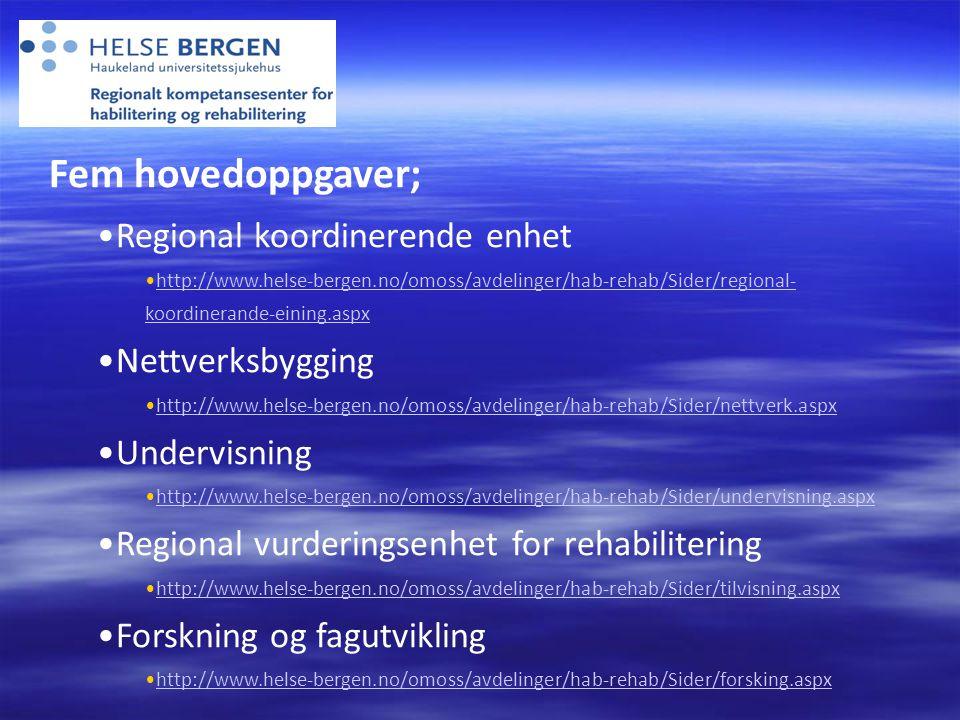 Fem hovedoppgaver; •Regional koordinerende enhet •http://www.helse-bergen.no/omoss/avdelinger/hab-rehab/Sider/regional- koordinerande-eining.aspxhttp://www.helse-bergen.no/omoss/avdelinger/hab-rehab/Sider/regional- koordinerande-eining.aspx •Nettverksbygging •http://www.helse-bergen.no/omoss/avdelinger/hab-rehab/Sider/nettverk.aspxhttp://www.helse-bergen.no/omoss/avdelinger/hab-rehab/Sider/nettverk.aspx •Undervisning •http://www.helse-bergen.no/omoss/avdelinger/hab-rehab/Sider/undervisning.aspxhttp://www.helse-bergen.no/omoss/avdelinger/hab-rehab/Sider/undervisning.aspx •Regional vurderingsenhet for rehabilitering •http://www.helse-bergen.no/omoss/avdelinger/hab-rehab/Sider/tilvisning.aspxhttp://www.helse-bergen.no/omoss/avdelinger/hab-rehab/Sider/tilvisning.aspx •Forskning og fagutvikling •http://www.helse-bergen.no/omoss/avdelinger/hab-rehab/Sider/forsking.aspxhttp://www.helse-bergen.no/omoss/avdelinger/hab-rehab/Sider/forsking.aspx