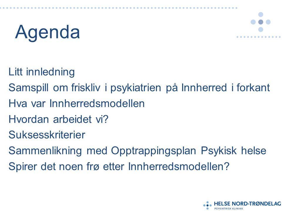 Agenda Litt innledning Samspill om friskliv i psykiatrien på Innherred i forkant Hva var Innherredsmodellen Hvordan arbeidet vi.