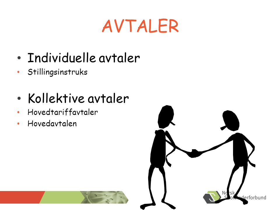 AVTALER • Individuelle avtaler • Stillingsinstruks • Kollektive avtaler • Hovedtariffavtaler • Hovedavtalen