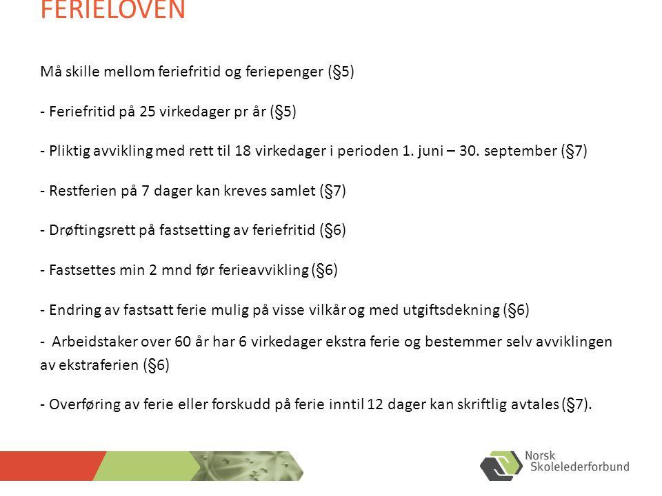 FERIELOVEN Må skille mellom feriefritid og feriepenger (§5) - Feriefritid på 25 virkedager pr år (§5) - Pliktig avvikling med rett til 18 virkedager i