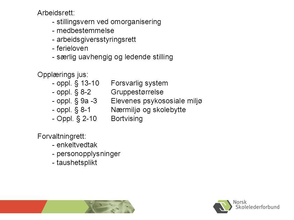 Arbeidsrett: - stillingsvern ved omorganisering - medbestemmelse - arbeidsgiversstyringsrett - ferieloven - særlig uavhengig og ledende stilling Opplæ