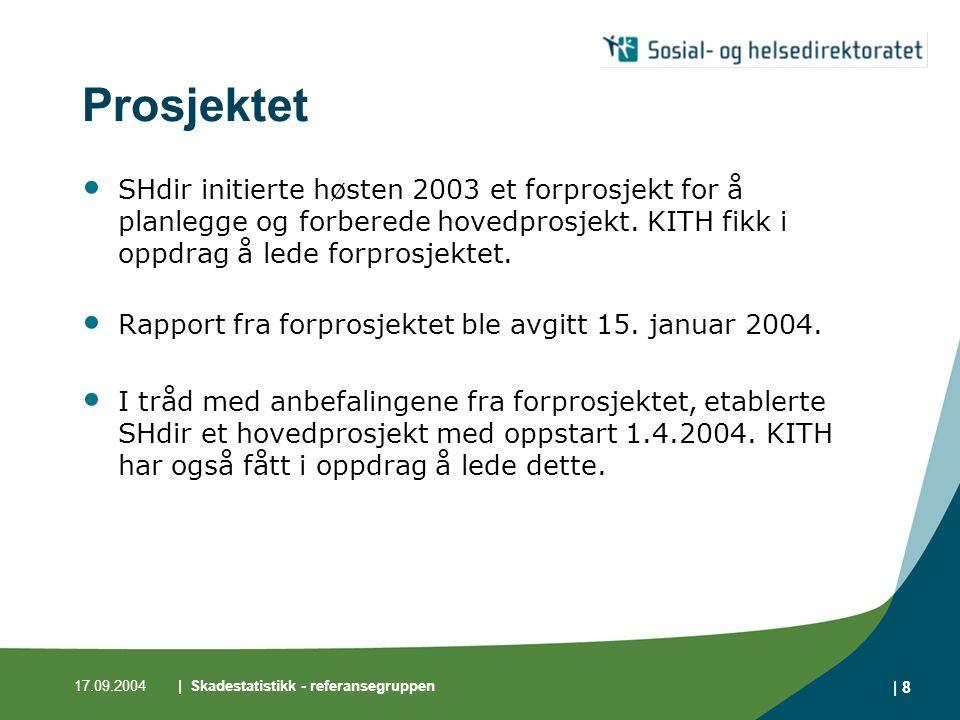 17.09.2004| Skadestatistikk - referansegruppen | 8 Prosjektet • SHdir initierte høsten 2003 et forprosjekt for å planlegge og forberede hovedprosjekt.