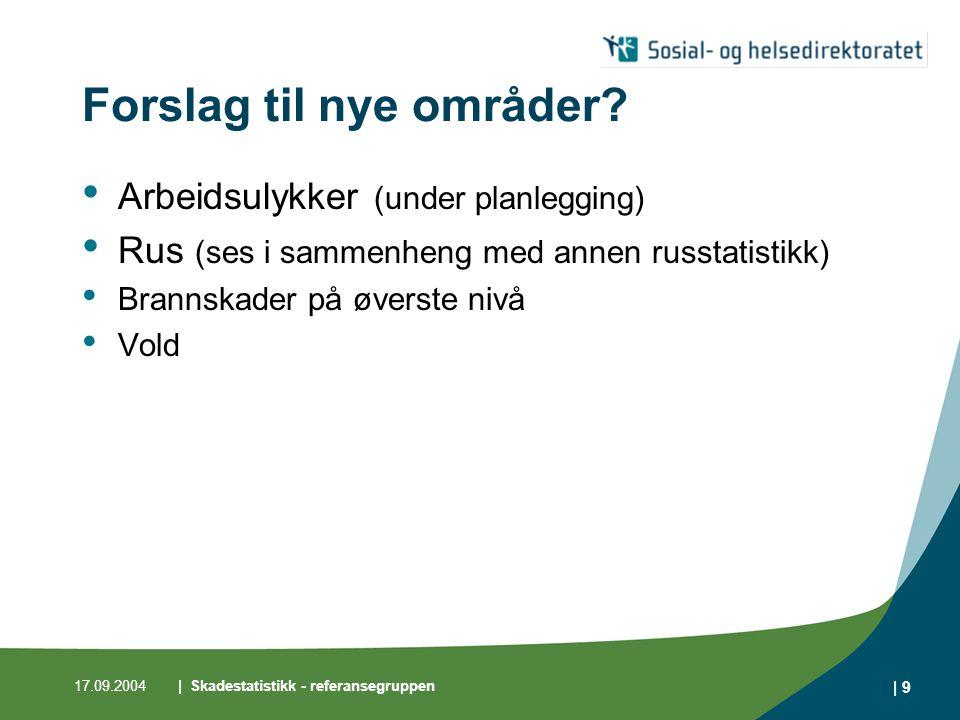 17.09.2004| Skadestatistikk - referansegruppen | 9 Forslag til nye områder? • Arbeidsulykker (under planlegging) • Rus (ses i sammenheng med annen rus