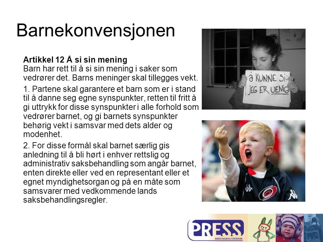 Barnekonvensjonen Artikkel 13 Ytrings- og opplysningsfrihet Barn har rett til ytringsfrihet og til å søke, motta og utbre informasjon.