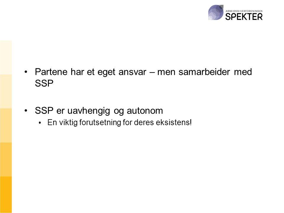 •Partene har et eget ansvar – men samarbeider med SSP •SSP er uavhengig og autonom • En viktig forutsetning for deres eksistens!