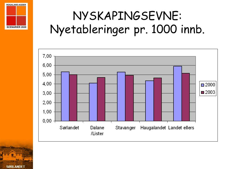 SØRLANDET NYSKAPINGSEVNE: Nyetableringer pr. 1000 innb.