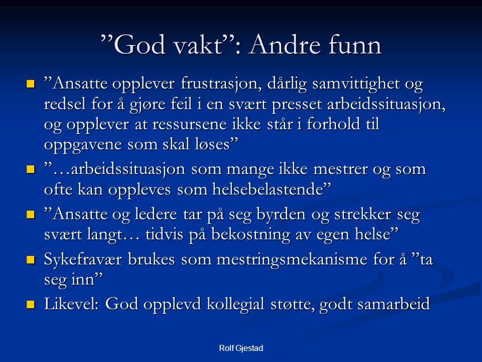 """Rolf Gjestad """"God vakt"""": Andre funn  """"Ansatte opplever frustrasjon, dårlig samvittighet og redsel for å gjøre feil i en svært presset arbeidssituasjo"""