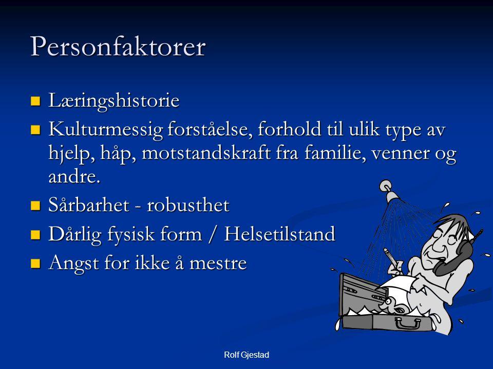 Rolf Gjestad Personfaktorer  Læringshistorie  Kulturmessig forståelse, forhold til ulik type av hjelp, håp, motstandskraft fra familie, venner og andre.