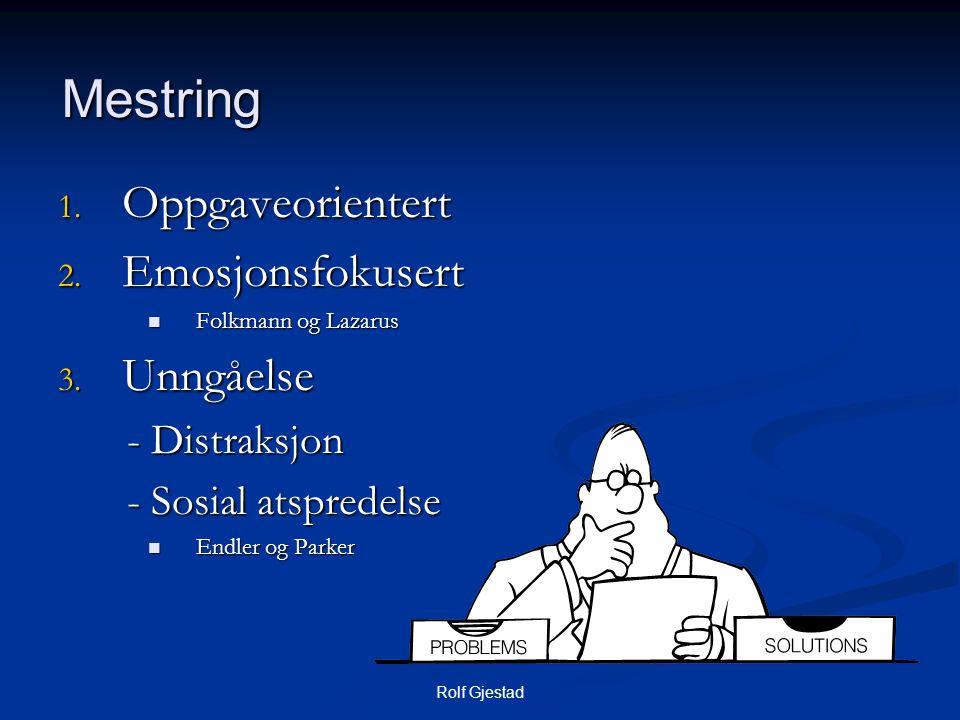 Rolf Gjestad Mestring 1. Oppgaveorientert 2. Emosjonsfokusert  Folkmann og Lazarus 3. Unngåelse - Distraksjon - Distraksjon - Sosial atspredelse - So