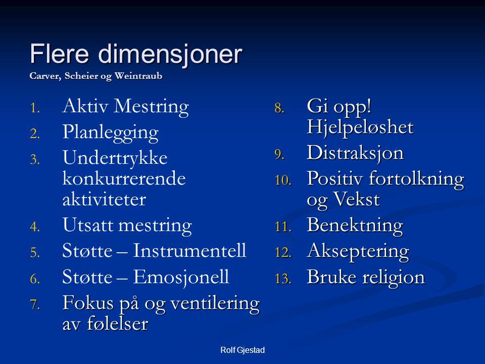 Rolf Gjestad Flere dimensjoner Carver, Scheier og Weintraub 1. 1. Aktiv Mestring 2. 2. Planlegging 3. 3. Undertrykke konkurrerende aktiviteter 4. 4. U