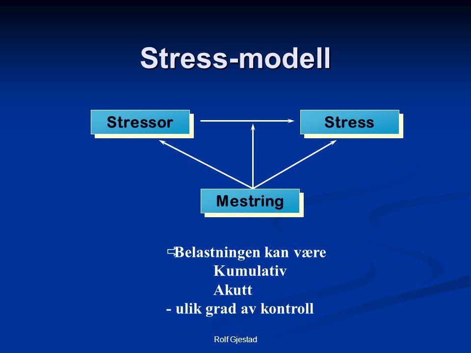 Rolf Gjestad Stress  Stress er et resultat av ubalanse mellom krav (subjektive og objektive) og ressurser til å møte disse kravene.