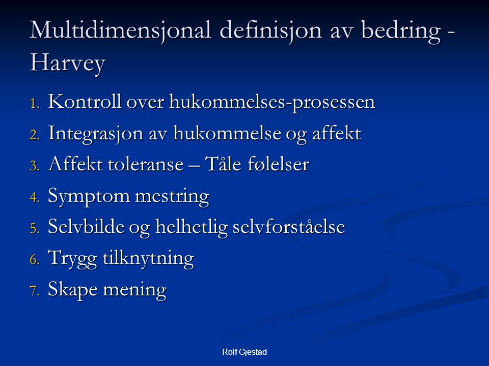 Rolf Gjestad Multidimensjonal definisjon av bedring - Harvey 1. Kontroll over hukommelses-prosessen 2. Integrasjon av hukommelse og affekt 3. Affekt t