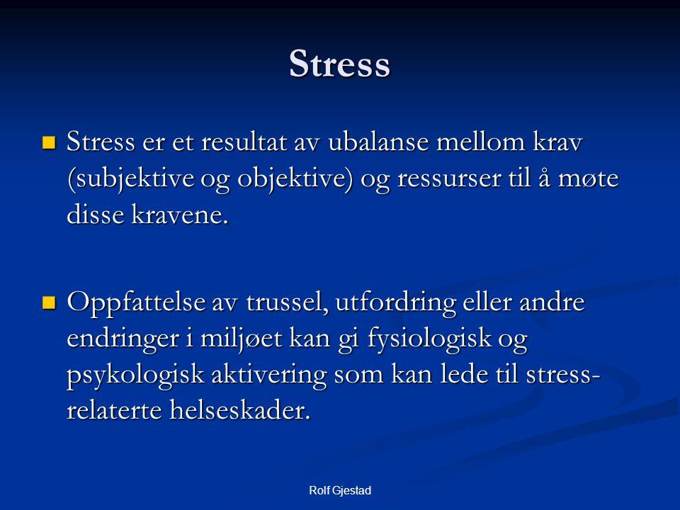 Rolf Gjestad Stress  Stress er et resultat av ubalanse mellom krav (subjektive og objektive) og ressurser til å møte disse kravene.  Oppfattelse av