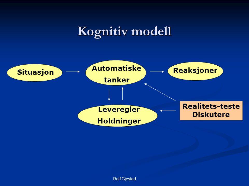 Rolf Gjestad Kognitiv modell Reaksjoner Automatiske tanker Leveregler Holdninger Situasjon Realitets-teste Diskutere