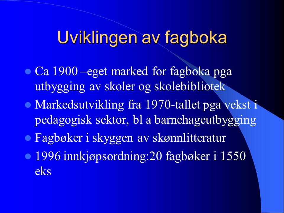 Uviklingen av fagboka  Ca 1900 –eget marked for fagboka pga utbygging av skoler og skolebibliotek  Markedsutvikling fra 1970-tallet pga vekst i peda
