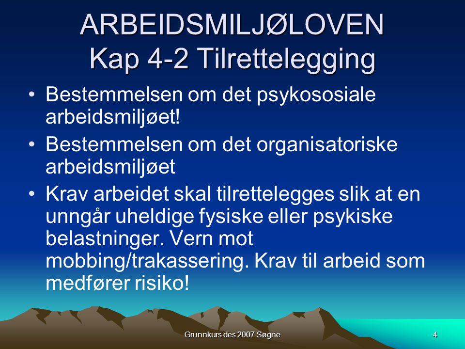Grunnkurs des 2007 Søgne4 ARBEIDSMILJØLOVEN Kap 4-2 Tilrettelegging •Bestemmelsen om det psykososiale arbeidsmiljøet! •Bestemmelsen om det organisator
