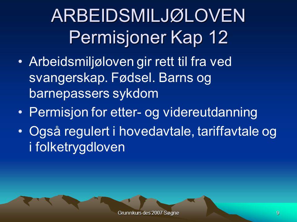 Grunnkurs des 2007 Søgne9 ARBEIDSMILJØLOVEN Permisjoner Kap 12 •Arbeidsmiljøloven gir rett til fra ved svangerskap. Fødsel. Barns og barnepassers sykd