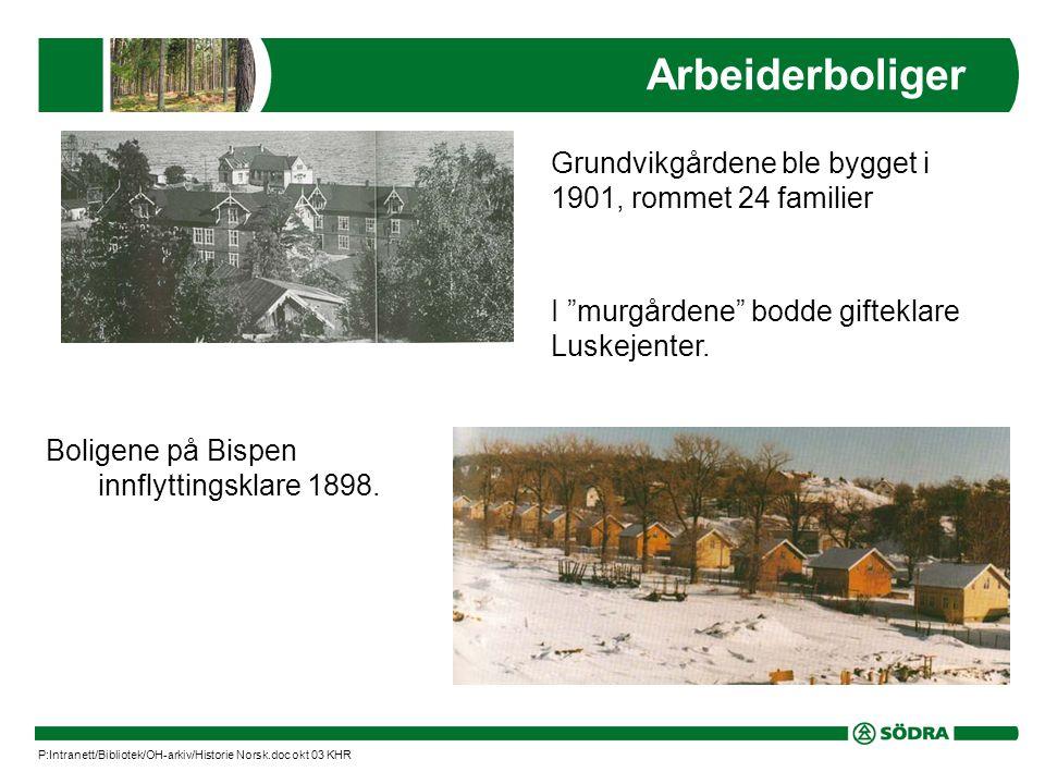 Arbeiderboliger Grundvikgårdene ble bygget i 1901, rommet 24 familier Boligene på Bispen innflyttingsklare 1898.