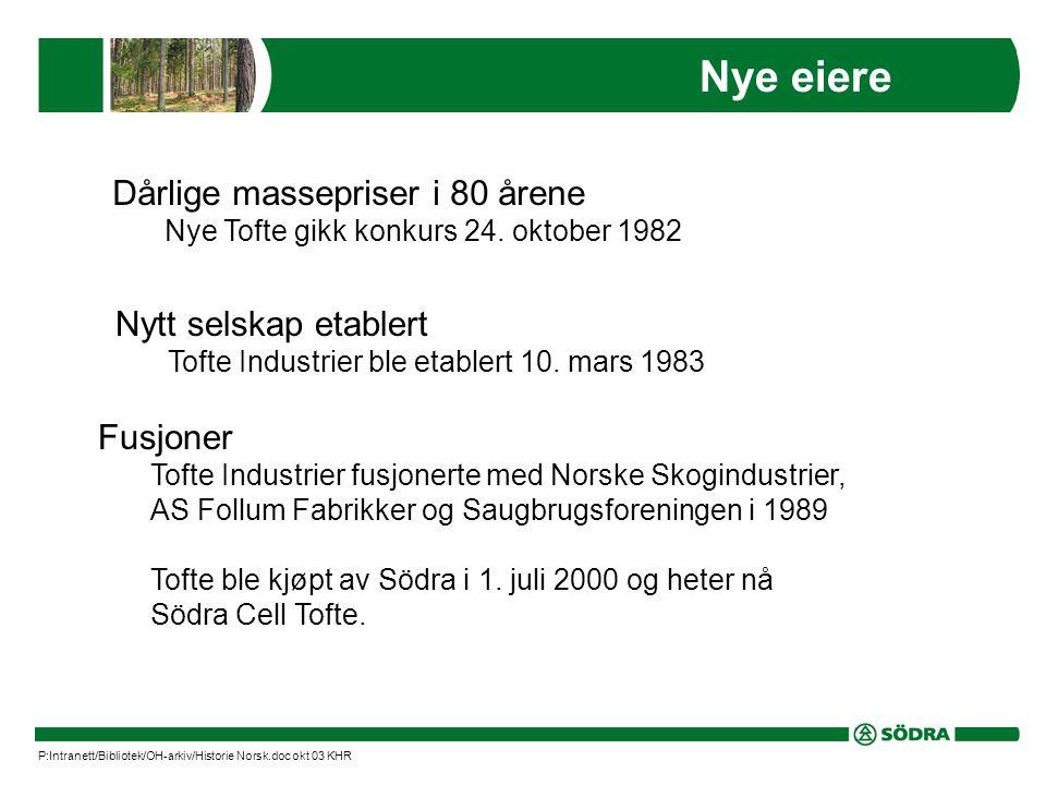 Nye eiere Dårlige massepriser i 80 årene Nye Tofte gikk konkurs 24.