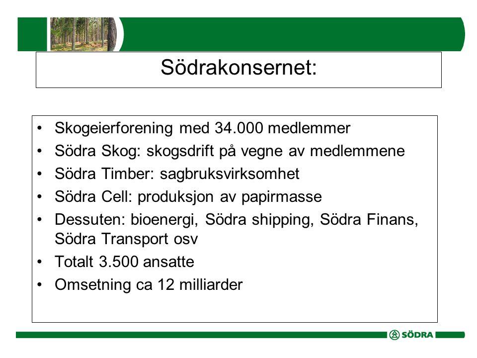 Södrakonsernet: •Skogeierforening med 34.000 medlemmer •Södra Skog: skogsdrift på vegne av medlemmene •Södra Timber: sagbruksvirksomhet •Södra Cell: produksjon av papirmasse •Dessuten: bioenergi, Södra shipping, Södra Finans, Södra Transport osv •Totalt 3.500 ansatte •Omsetning ca 12 milliarder