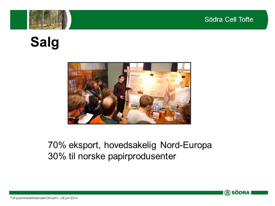 70% eksport, hovedsakelig Nord-Europa 30% til norske papirprodusenter Södra Cell Tofte Tof-pub/intranett/bibliotek/OH-arkiv -28 juni 2014 Salg
