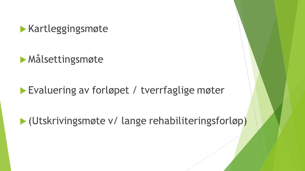  Kartleggingsmøte  Målsettingsmøte  Evaluering av forløpet / tverrfaglige møter  (Utskrivingsmøte v/ lange rehabiliteringsforløp)