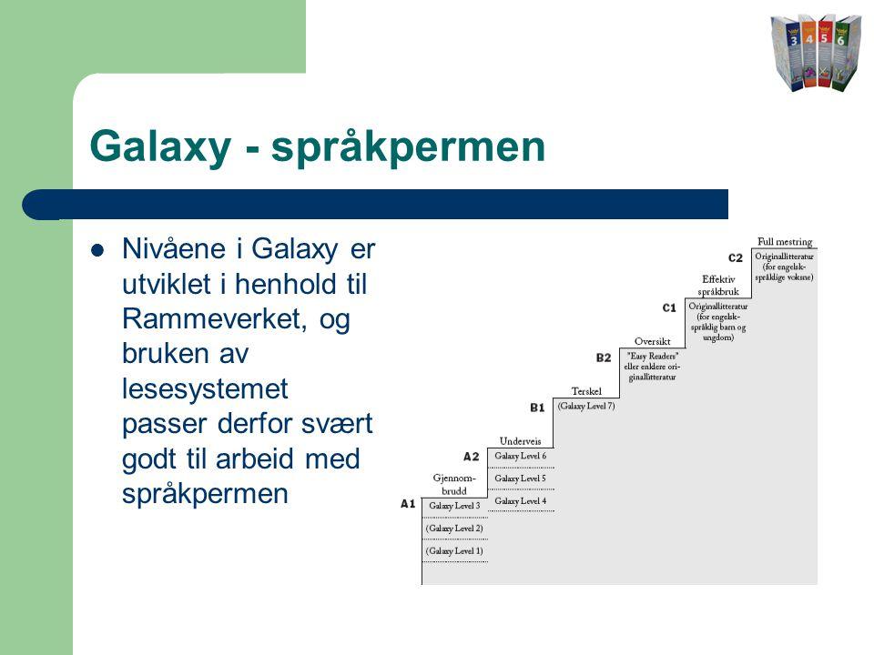 Galaxy - språkpermen  Nivåene i Galaxy er utviklet i henhold til Rammeverket, og bruken av lesesystemet passer derfor svært godt til arbeid med språkpermen