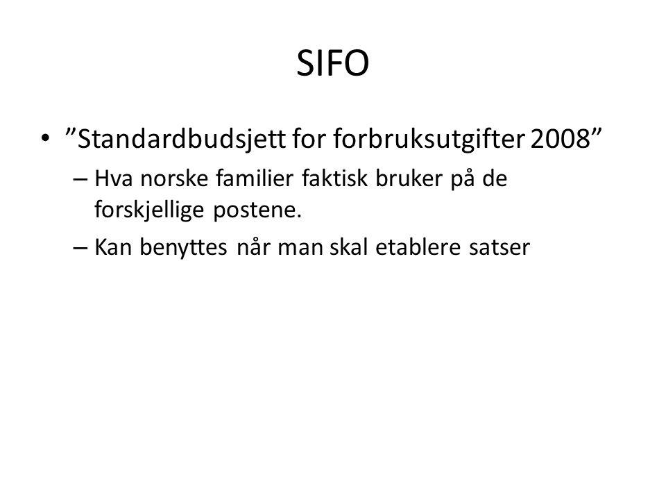 """SIFO • """"Standardbudsjett for forbruksutgifter 2008"""" – Hva norske familier faktisk bruker på de forskjellige postene. – Kan benyttes når man skal etabl"""