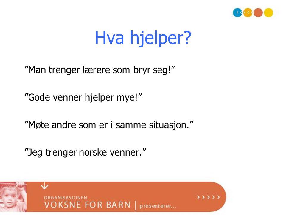 """Hva hjelper? """"Man trenger lærere som bryr seg!"""" """"Gode venner hjelper mye!"""" """"Møte andre som er i samme situasjon."""" """"Jeg trenger norske venner."""""""