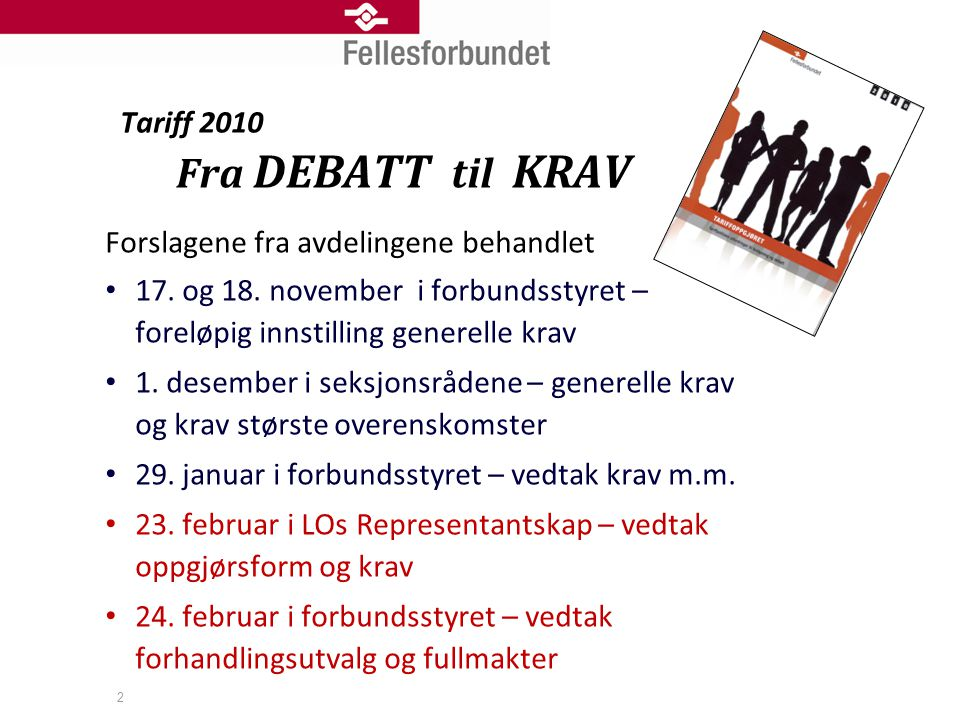 2 Tariff 2010 Fra DEBATT til KRAV Forslagene fra avdelingene behandlet • 17. og 18. november i forbundsstyret – foreløpig innstilling generelle krav •