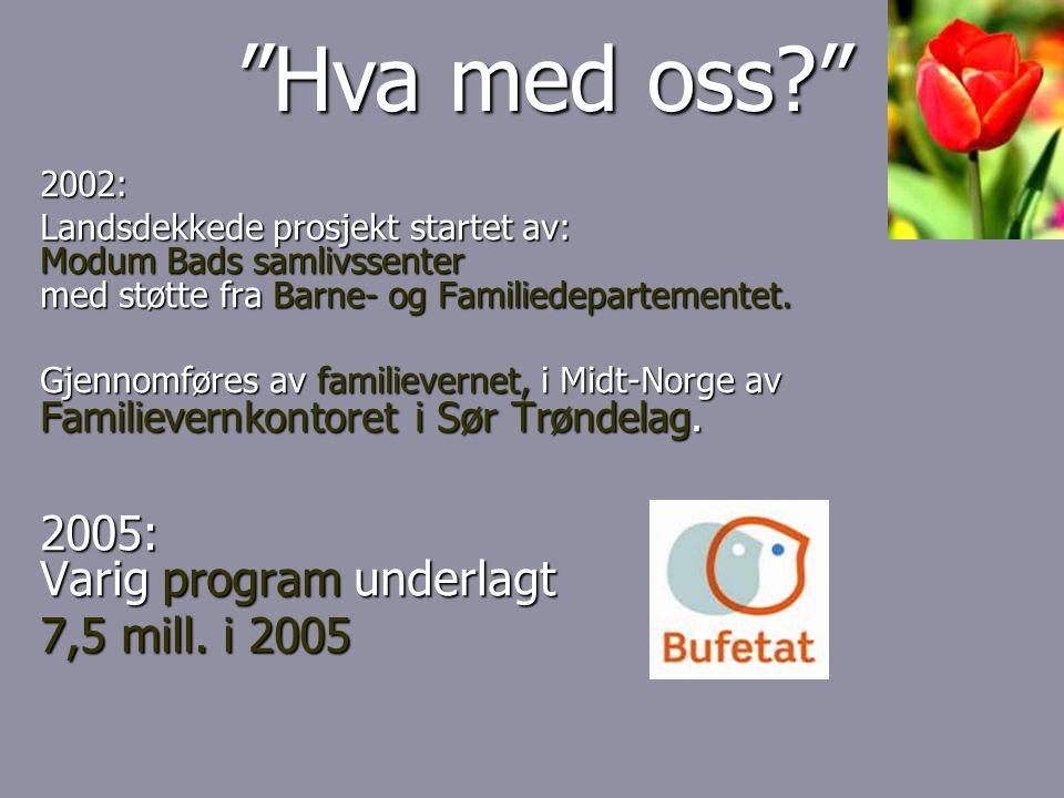2002: Landsdekkede prosjekt startet av: Modum Bads samlivssenter med støtte fra Barne- og Familiedepartementet.