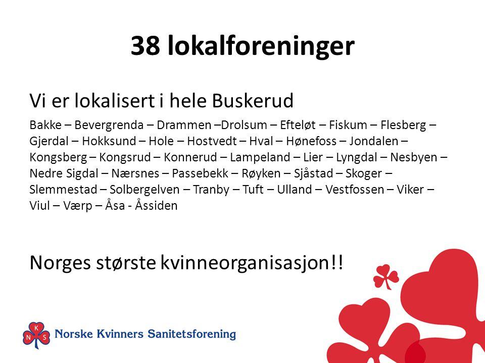 38 lokalforeninger Vi er lokalisert i hele Buskerud Bakke – Bevergrenda – Drammen –Drolsum – Efteløt – Fiskum – Flesberg – Gjerdal – Hokksund – Hole –