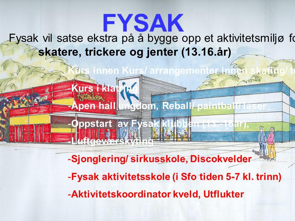 © Bergen kommune Utfordringer FYSAK Fysak vil satse ekstra på å bygge opp et aktivitetsmiljø for: skatere, trickere og jenter (13.16.år) Kurs innen Ku