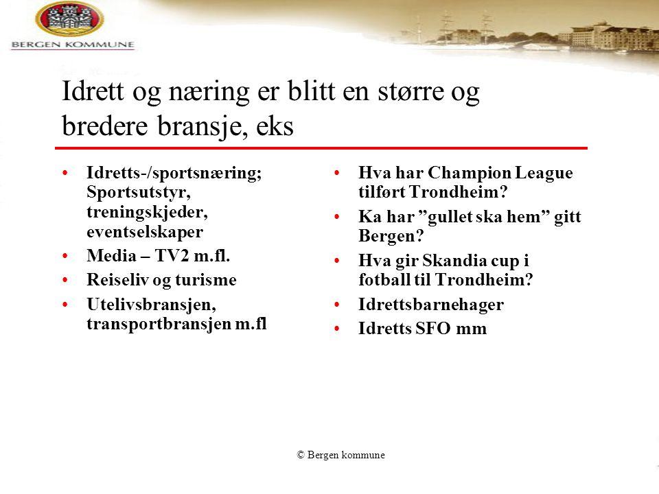 © Bergen kommune Idrett og næring er blitt en større og bredere bransje, eks •Idretts-/sportsnæring; Sportsutstyr, treningskjeder, eventselskaper •Med