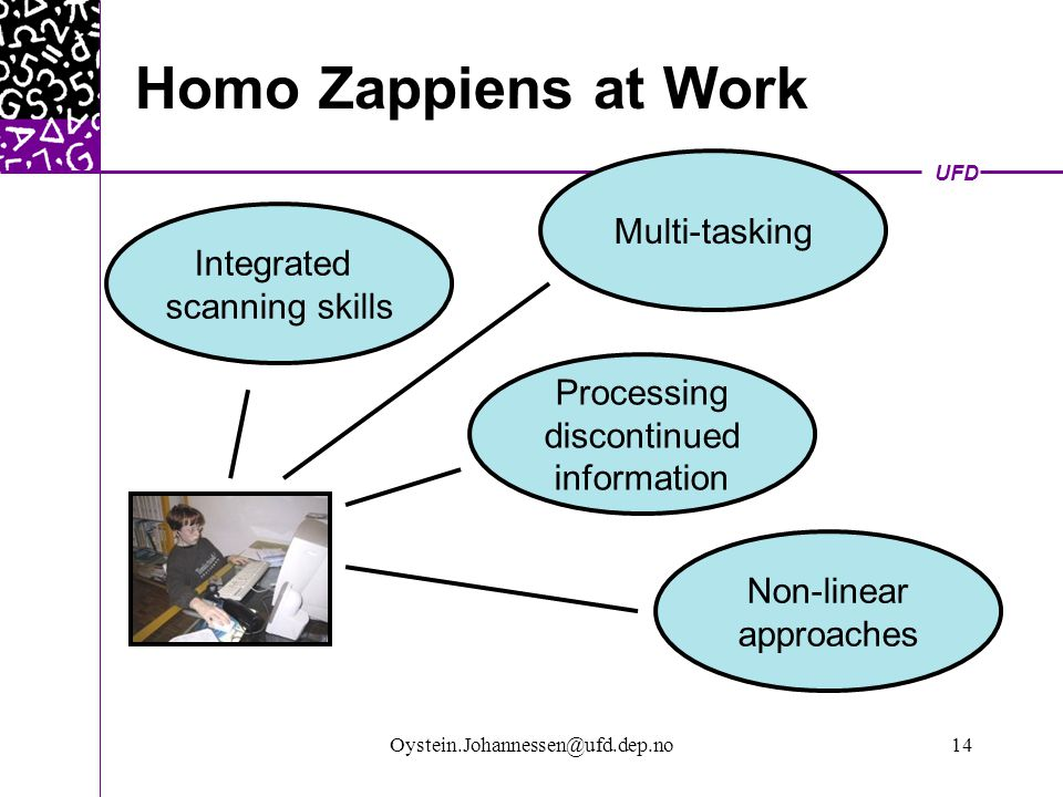 UFD Oystein.Johannessen@ufd.dep.no14 Homo Zappiens at Work Integrated scanning skills Multi-tasking Processing discontinued information Non-linear approaches