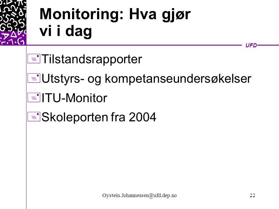 UFD Oystein.Johannessen@ufd.dep.no22 Monitoring: Hva gjør vi i dag  Tilstandsrapporter  Utstyrs- og kompetanseundersøkelser  ITU-Monitor  Skoleporten fra 2004