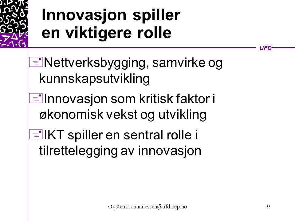 UFD Oystein.Johannessen@ufd.dep.no10 IKT og innovasjon  IKT speeder opp innovasjonsprosessen  Prosesser og produkter – kortere leve- /omløpstid  Nettverk sentral og kritisk faktor  Raskere spredning av kunnskap  FoU og næringsliv tettere koblet