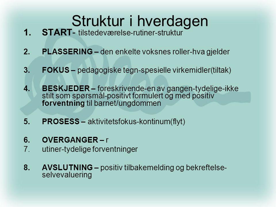 Struktur i hverdagen 1.START- tilstedeværelse-rutiner-struktur 2.PLASSERING – den enkelte voksnes roller-hva gjelder 3.FOKUS – pedagogiske tegn-spesie