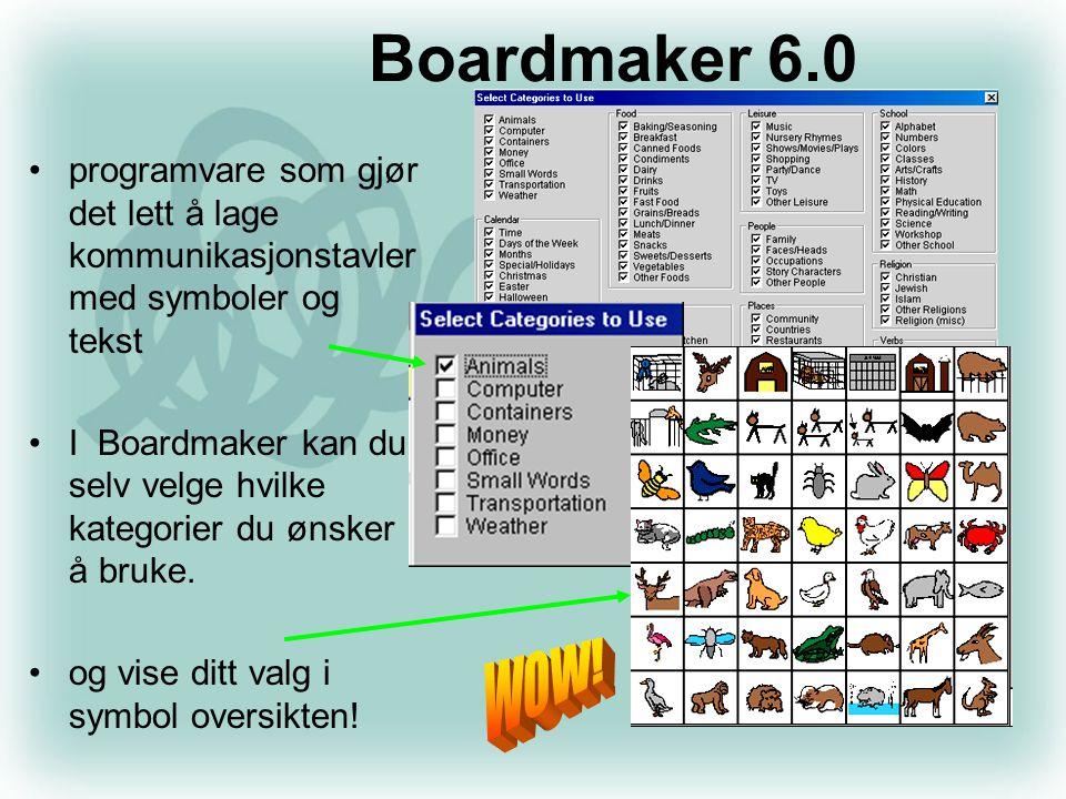 •programvare som gjør det lett å lage kommunikasjonstavler med symboler og tekst •I Boardmaker kan du selv velge hvilke kategorier du ønsker å bruke.