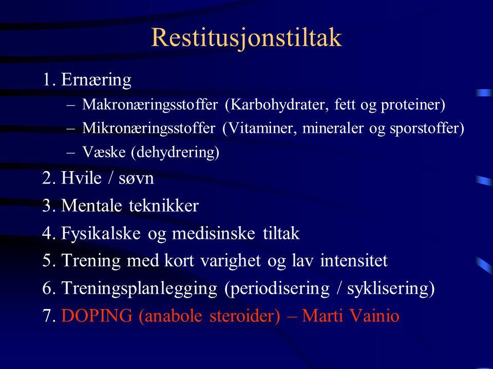 Restitusjonstid Restitusjonstiden er i hovedsak avhengig av: a)treningsbelastningen, b)hva slags restitusjonstiltak utøveren benytter før, under og et