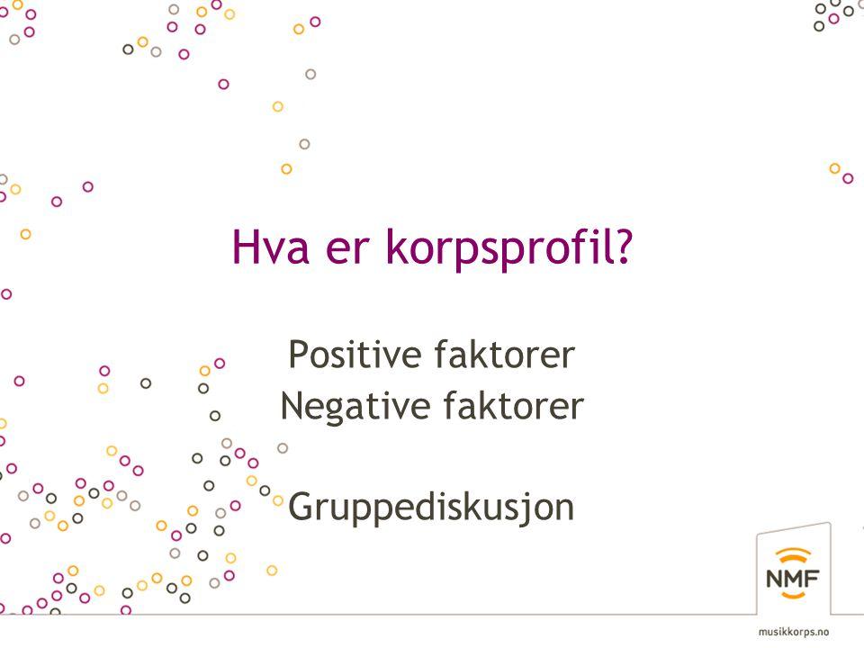 Hva er korpsprofil? Positive faktorer Negative faktorer Gruppediskusjon